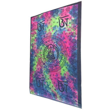 Load image into Gallery viewer, Pink Buddhist Om Symbol Tapestry Wall Hanging with Seven Chakra Symbol Border | Wild Lotus® | @wildlotusbrand