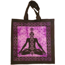 Load image into Gallery viewer, Purple Seven Chakras Avatar Meditation Tie Dye Market Tote Bag Canvas Graphic