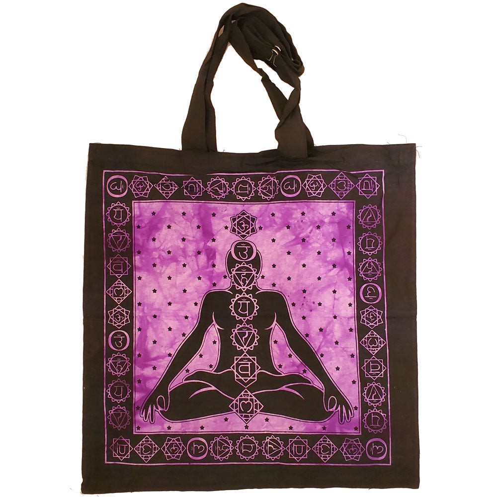 Purple Seven Chakras Avatar Meditation Tie Dye Market Tote Bag Canvas Graphic