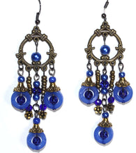 Load image into Gallery viewer, Blue Seed Bead Chandelier Earrings