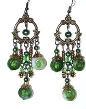 Load image into Gallery viewer, Green Seed Bead Chandelier Earrings