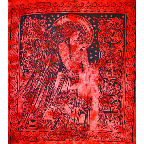 Red Angel of Peace Tie Dye Tapestry