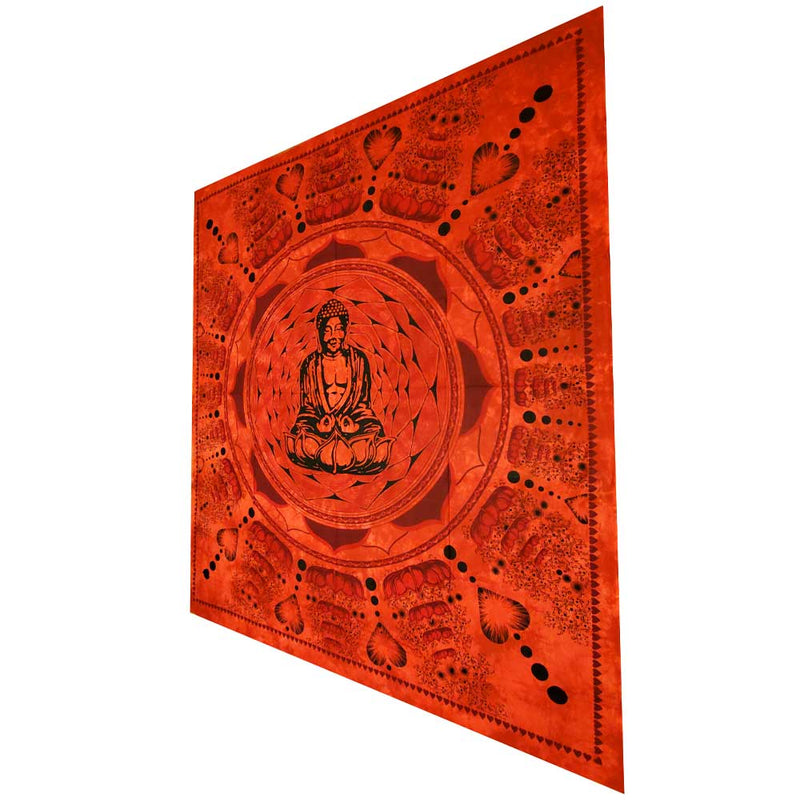 Red Buddha In Dharma Chakra Mudra On A Lotus Flower Full Size Tapestry Wall Art | @wildlotusbrand | Wild Lotus®