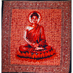 Red Buddha In Meditation Batik Style Tapestry