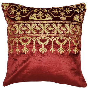 "Red Cotton Viscose Velvet Blend Fabric Cushion Cover Design Home Accent Furnishing - 16"" x 16"" 