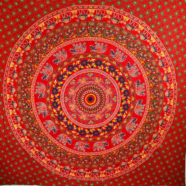 Red Elephants & Camels Mandala Tapestry