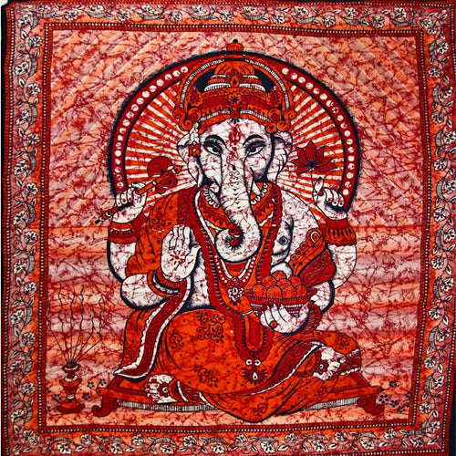 Red Ganesha Holding Lotus Flower In Batik Style Tie Dye Tapestry