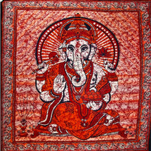 Load image into Gallery viewer, Red Ganesha Holding Lotus Flower In Batik Style Tie Dye Tapestry