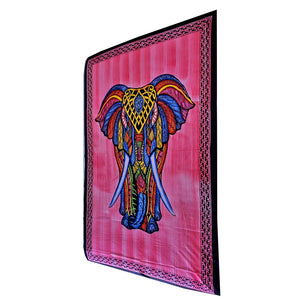 Red Indian Bohemian Elephant Brushstroke Art Tapestry Wall Hanging Decoration