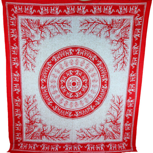 Red Tigers & Elephants Majestic Beasts Tapestry