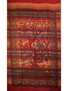 Red Tree of Life Birds in Hand-loom Tapestry