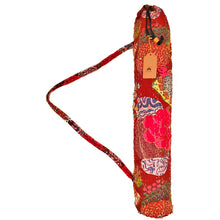 Load image into Gallery viewer, Red Bohemian Kantha Quilt Cotton Fabric Yoga Mat Bag Carrier | Wild Lotus®