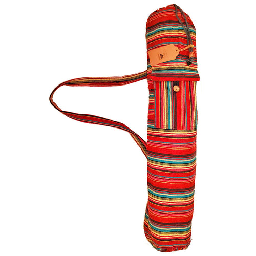 Red Geometric Pattern Cotton Vintage Dhurrie Yoga Mat Bag Carrier with Front Pocket | Wild Lotus® | @wildlotusbrand