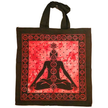 Load image into Gallery viewer, Red Seven Chakras Avatar Meditation Tie Dye Market Tote Bag Canvas Graphic |  Wild Lotus®
