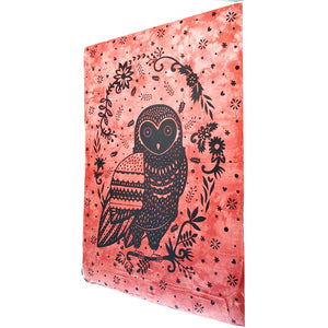 Red Trippy Owl Tapestry Wall Hanging