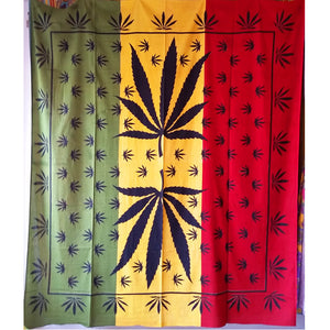 Rastafarian Marijuana Leaf Mirror Art Design Tapestry Wall Hanging | @wildlotusbrand | Wild Lotus®