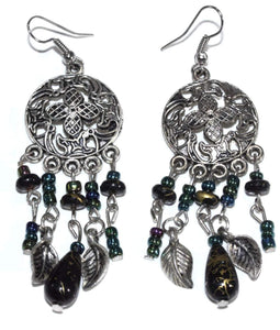 Black Dream Catcher Style Flower Earrings