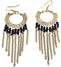 Load image into Gallery viewer, Black Jaali Chains And Filigree Beaded Earrings