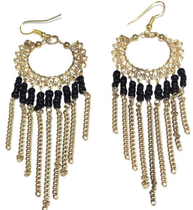 Black Jaali Chains And Filigree Beaded Earrings