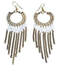 Load image into Gallery viewer, White Jaali Chains And Filigree Beaded Earrings