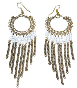 White Jaali Chains And Filigree Beaded Earrings