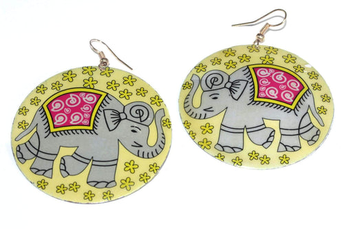 Good Luck Elephant Mother Of Pearl Earrings