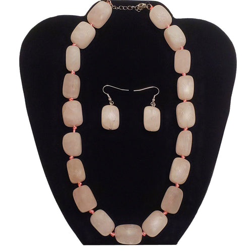 Rose Quartz Unconditional Love Heart Chakra Jewelry Necklace Set