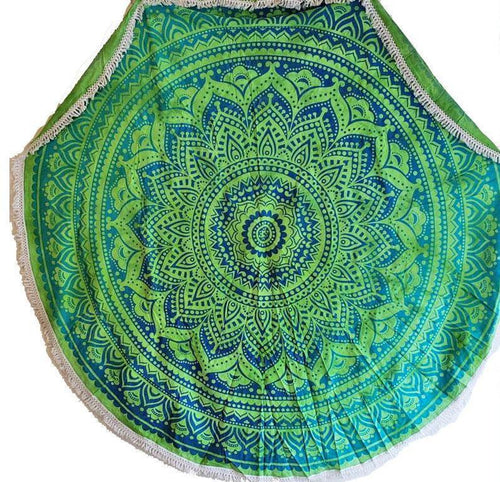 Rainforest Green Round Mandala Tapestry
