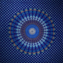 Load image into Gallery viewer, Royal Blue Peacock Dance Mandala Tapestry