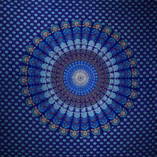 Royal Blue Peacock Dance Mandala Tapestry
