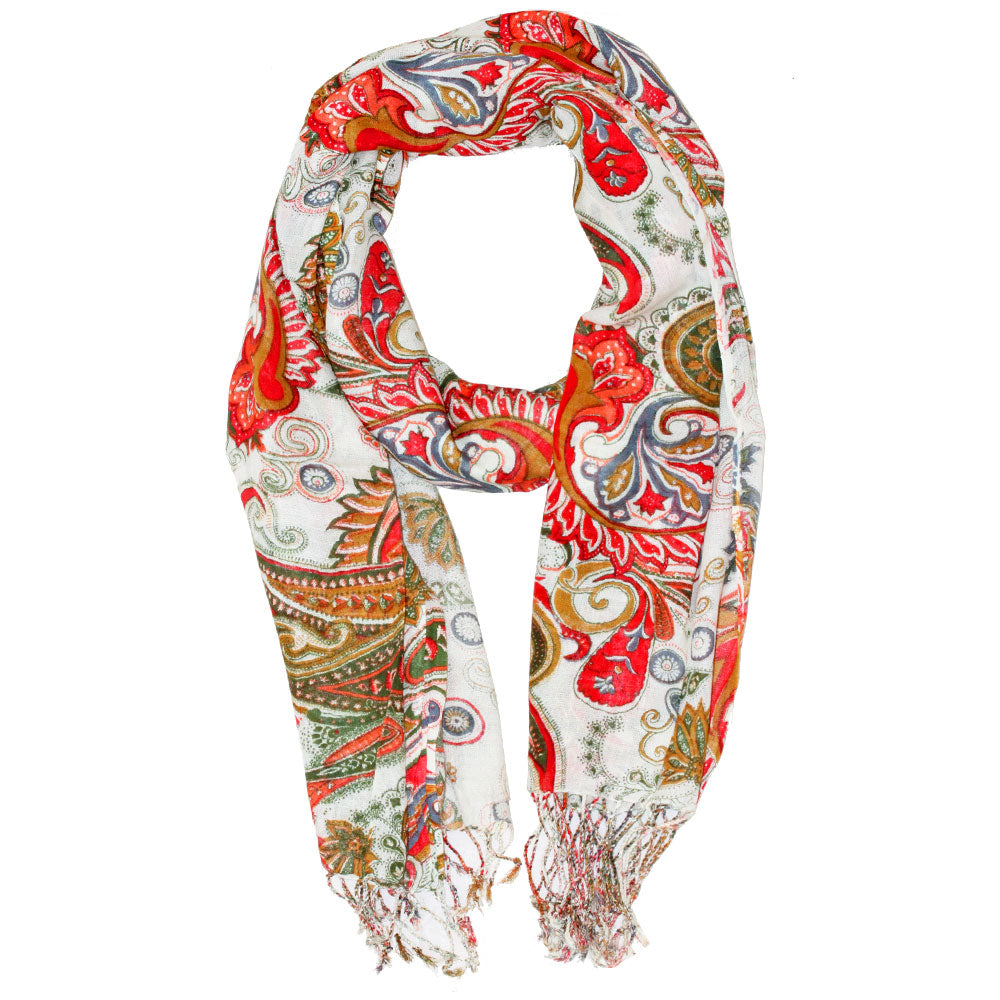 Royal Paisley Flower Design Tassel Scarf
