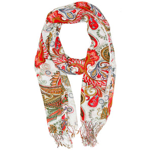 Royal Paisley Flower Design Tassel Scarf | Wild Lotus® | @wildlotusbrand