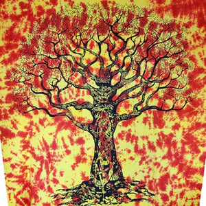 Saffron Celtic Knot Tree Of Life Tie Dye Tapestry