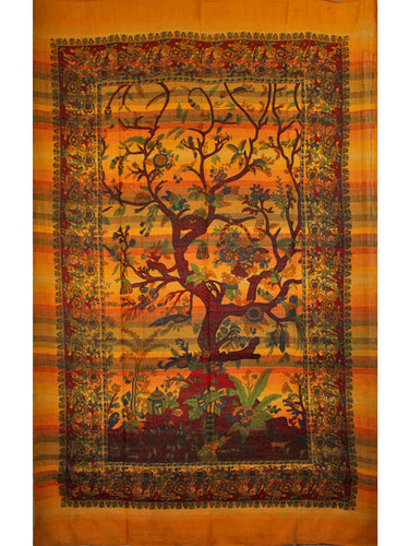 Saffron Tree of Life Birds Art in Hand-loom Tapestry