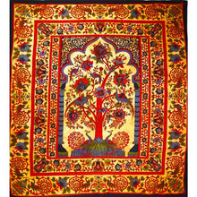 Load image into Gallery viewer, Saffron Tree of Life Peacock Tapestry
