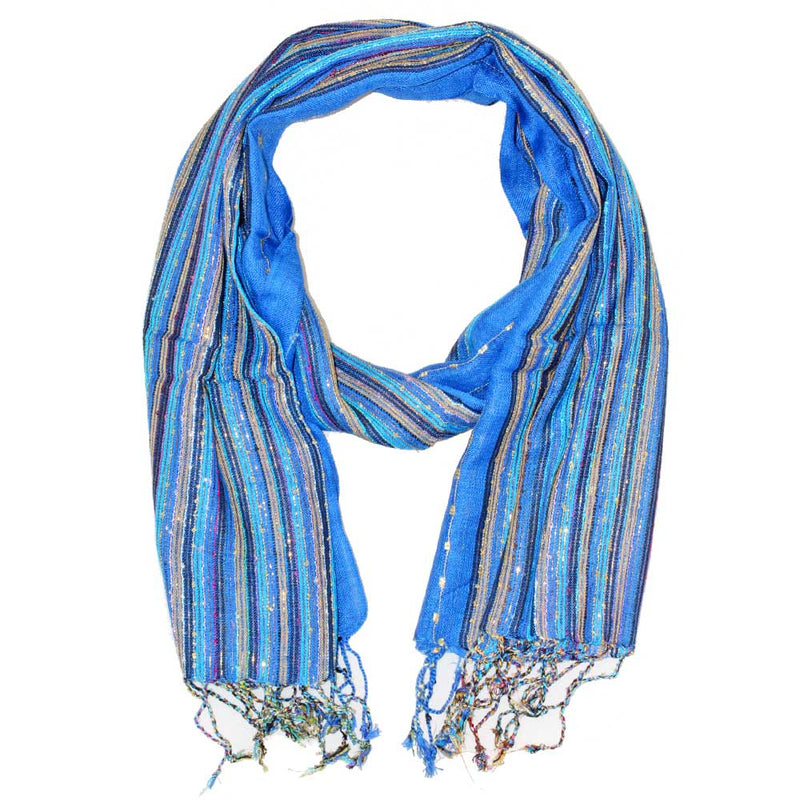 Blue Cotton Lurex Shimmering Stripes Scarf | Wild Lotus® | @wildlotusbrand