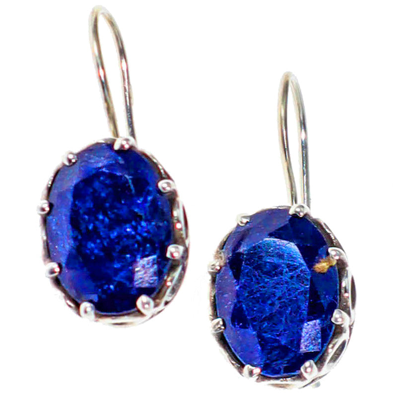 Scrollwork & Lapis Lazuli Gemstone Earrings