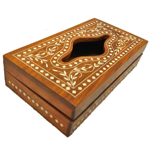 Sheesham Wood and Inlay Work Boho Style Custom Tissue Box | Handicrafts | Wild Lotus