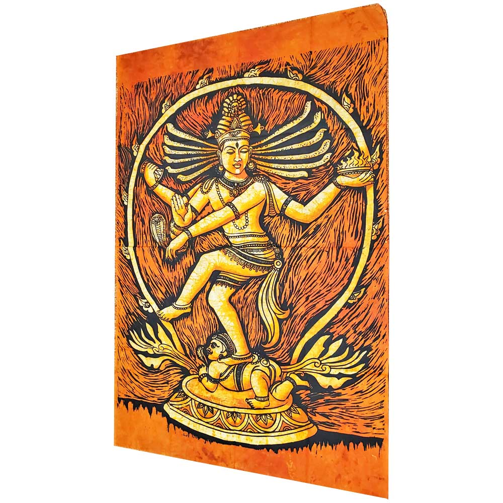 Orange Shiva Nataraja Lord of the Dance Symbolism Design Banner Tapestry | Wild Lotus® | @wildlotusbrand