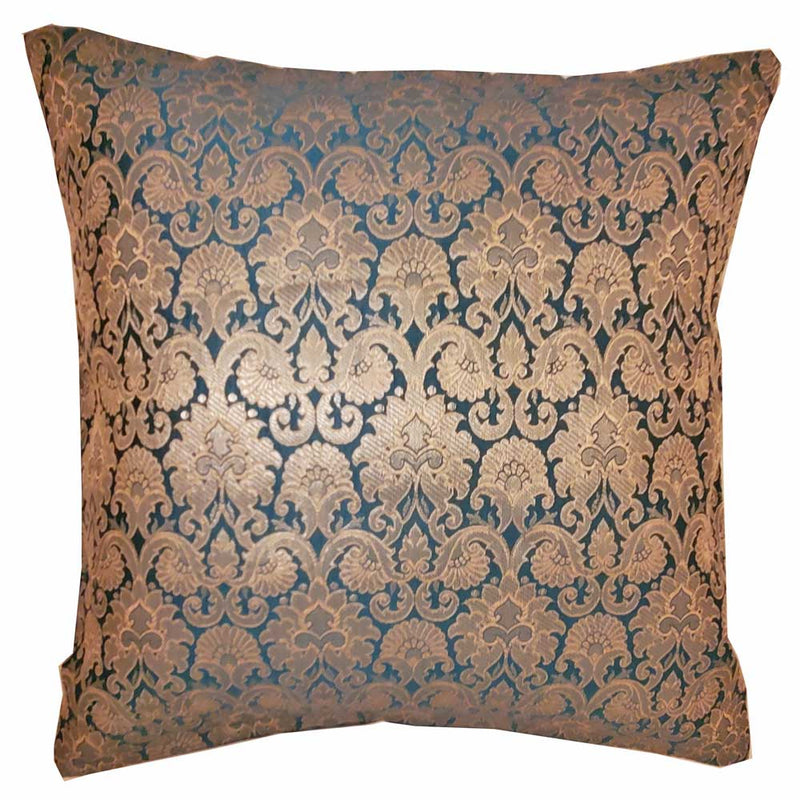 "Silk Jacquard Cotton Back Teal Cushion Cover Home Accent Furnishing - 16"" x 16"" 
