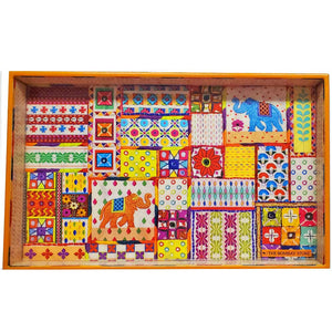 Sui Dhaaga Arnate Collage Laminated Wood Tray