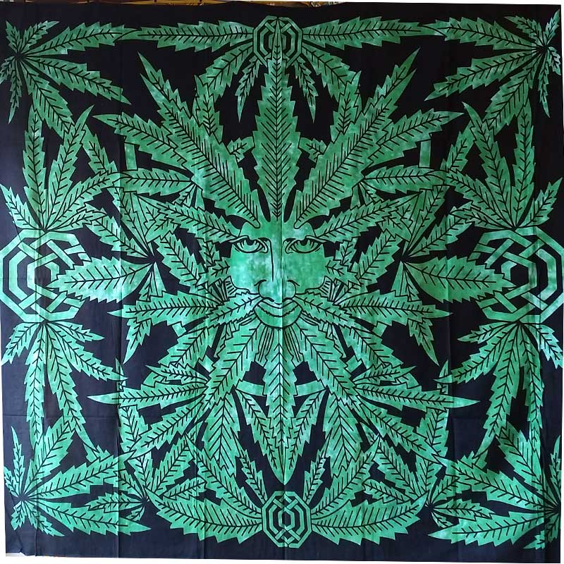 The Green Ganja Man Full Size Wall Art Tapestry | @wildlotusbrand | Wild Lotus®