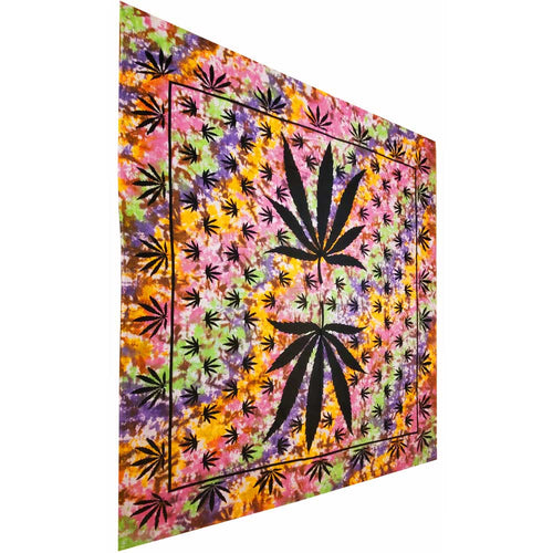 Tie Dye Marijuana Leaf Mirror Art Design Tapestry Wall Hanging | Wild Lotus® | @wildlotusbrand