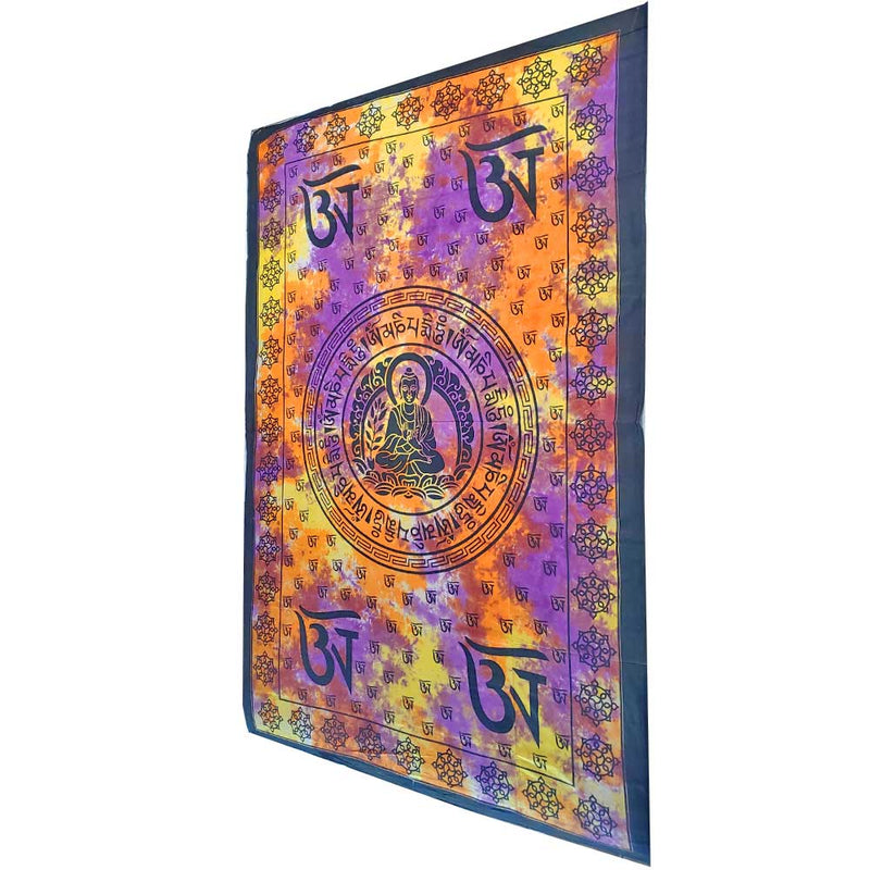 Tie Dye Buddhist Om Symbol Tapestry Wall Hanging with Seven Chakra Symbol Border