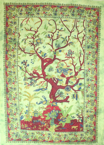 Green Tree of Life Birds Tapestry