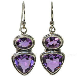 Trillion and Oval Cut Amethyst Earrings