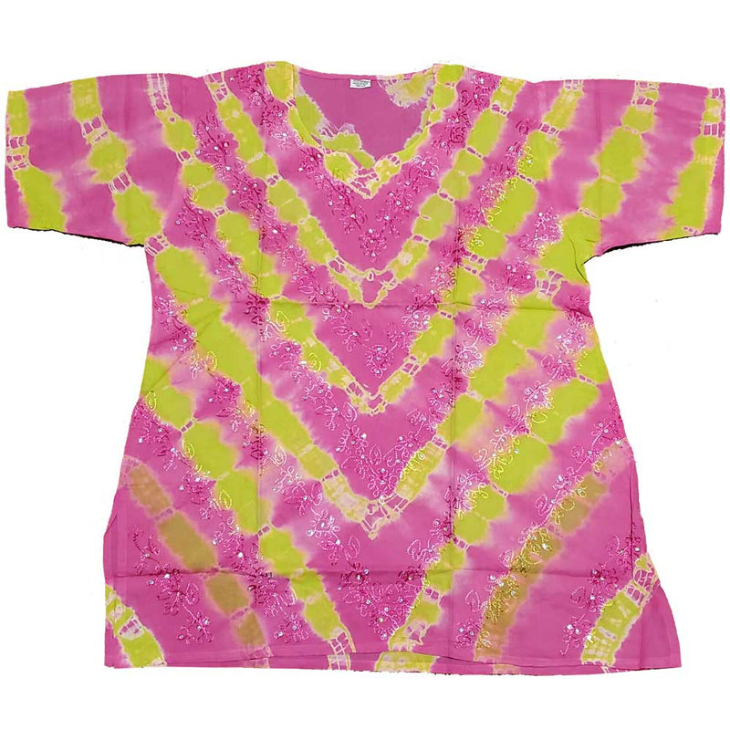 Pink Aari Embroidery Design Sequin Tunic Tie Dye TopAari Embroidery Design Sequin Tunic Tie Dye Top | Wild Lotus® | @wildlotusbrand