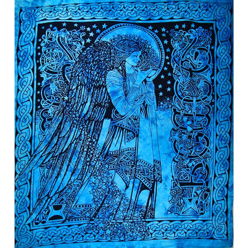 Turquoise Angel of Peace Tie Dye Tapestry