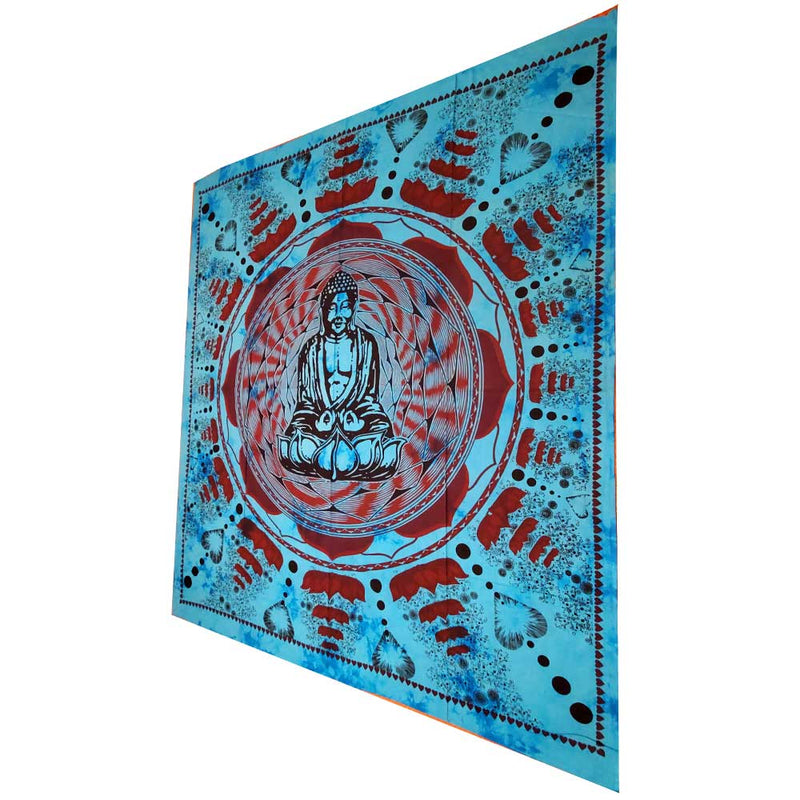 Turquoise Buddha In Dharma Chakra Mudra On A Lotus Flower Full Size Tapestry Wall Art | @wildlotusbrand | Wild Lotus®