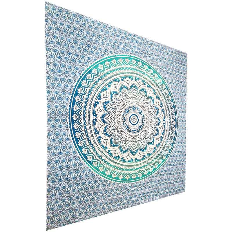 Turquoise Ombre Art Pattern Full Size Sheet Tapestry Wall Hanging Decoration | Wild Lotus®